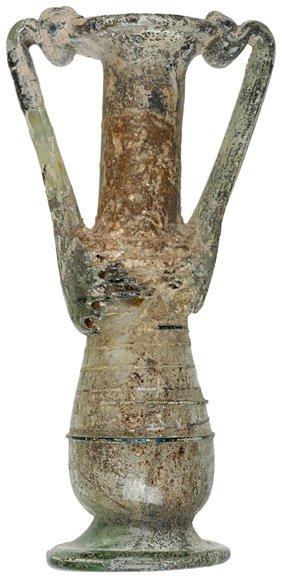 2304: Roman Glass Twin Handled Unguentarium