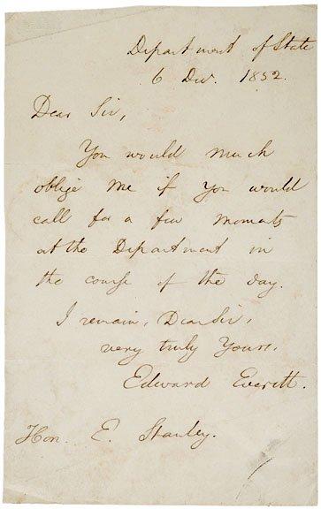 2023: EDWARD EVERETT Autograph Letter Signed, 1852