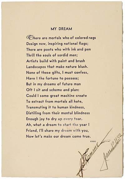 2022: J.T. EMME Signed Poem 1932 - My Dream
