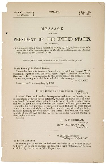 2017: GEORGE A. CUSTER, Congressional Report 1876
