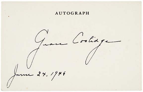 2014: Grace Coolidge Signature, 1946