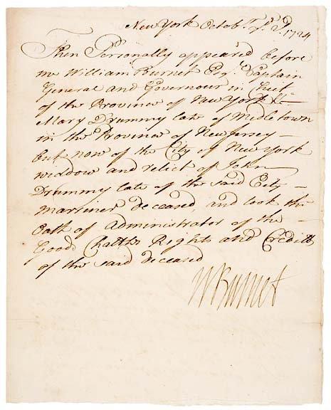 2008: WILLIAM BURNET Signed Document 1724