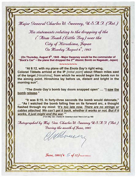 2003: A-Bomb Pilot, Charles Sweeney, Signed Document