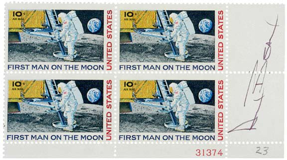 2001: ASTRONAUTS, Postage Stamps Signed, Alan Bean