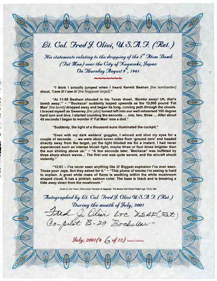 2002: A-Bomb Co-Pilot, Fred J. Olivi, Signed Document