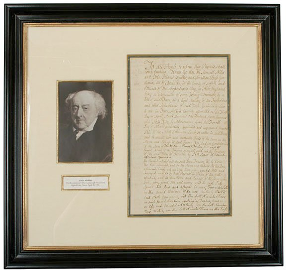 1: JOHN ADAMS Four Times Signed Document
