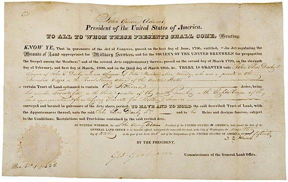2: JOHN QUINCY ADAMS Signed Land Grant, 1825