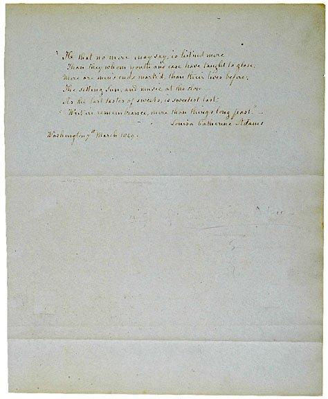 3: LOUISA CATHERINE ADAMS Manuscript Signed, 1849