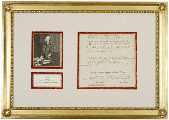 4: SAMUEL ADAMS, Signed Document as Governor, 1795