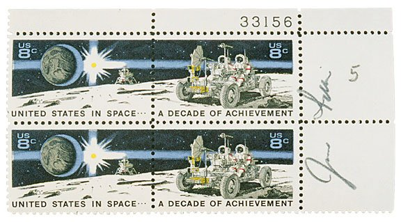 16: ASTRONAUT, JIM IRWIN Signed Stamps