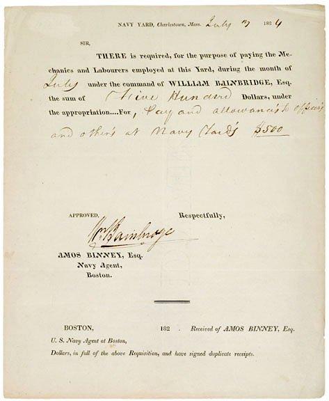 17: WILLIAM BAINBRIDGE Signed Document, 1824