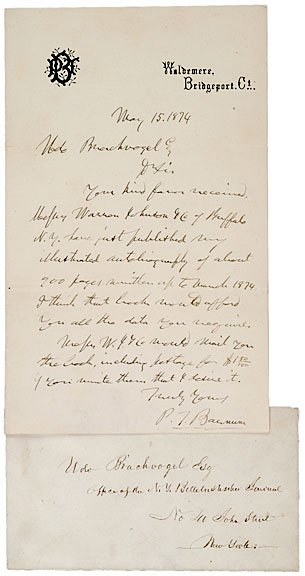 19: PHINEAS TAYLOR BARNUM, Autograph Letter Signed