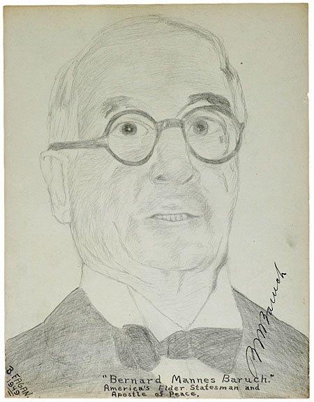 21: BERNARD BARUCH, Original Pencil Sketch, Signed