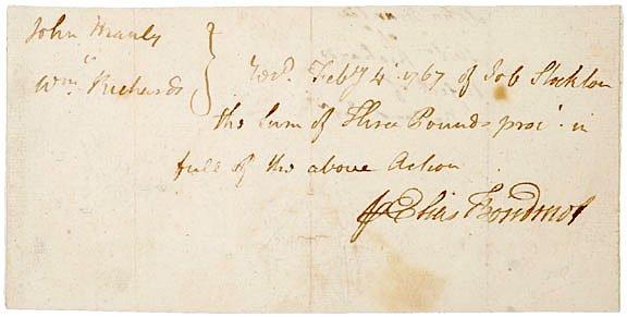25: ELIAS BOUDINOT, 1767, Signed Document
