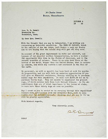 RICHARD E. BYRD Signed Letter, 1933