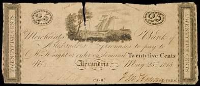 953: Obsolete Currency, DC, Merchants, Alexandria 25¢
