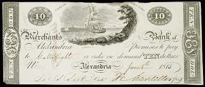 957: Obsolete Currency, DC, Merchants, Alexandria,$10