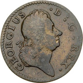 1156: Colonial Coinage, 1722 Rosa Americana Halfpenny