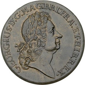 1160: Colonial Coinage, 1723 Rosa Americana Twopence