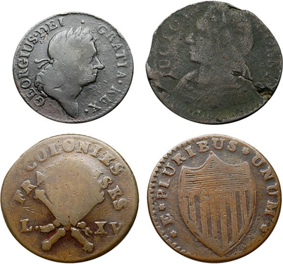 1162: Colonial Coinage, Four Mixed Colonial Coppers