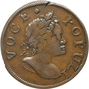 1163: Colonial Coinage, 1760 Voce Populi Halfpenny