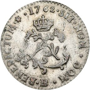 1169: Colonial Coinage, 1762-BB French Colonies 24 Den.