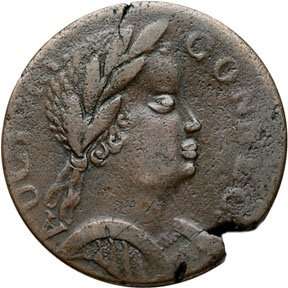 1177: Colonial Coinage, 1785 Connecticut, African Head