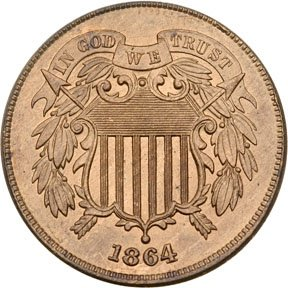 1266: 1864 Two-Cent Piece, Large Motto, Mint State-60+