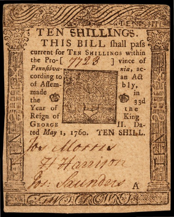 Province of Pennsylvania. May 1, 1760. Ten Shillings. P