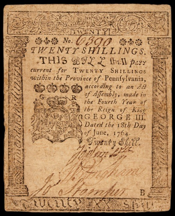 Province of Pennsylvania. June 18, 1764. Twenty Shillin
