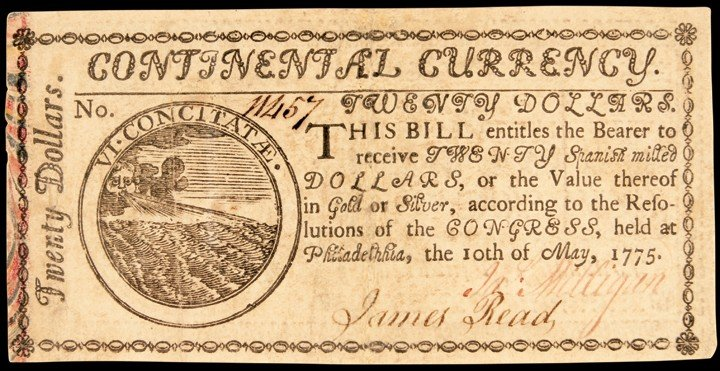 Continental Congress. May 10, 1775. Twenty Dollars. Pri