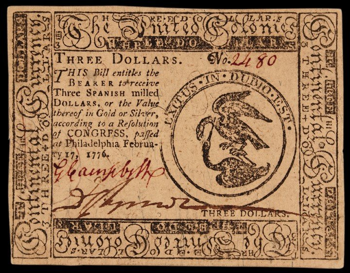 Continental Congress. February 17, 1776. Three Dollars.