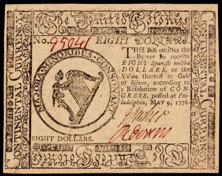 Continental Congress. May 9, 1776. Eight Dollars. Very