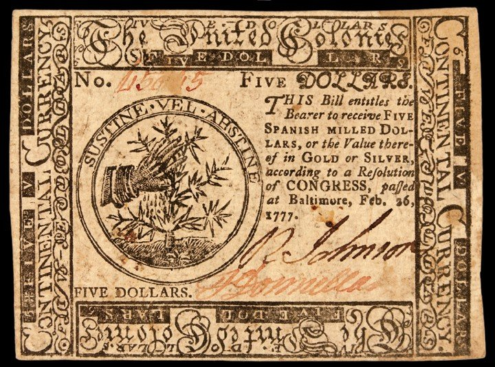 Continental Congress. February 26, 1777. Five Dollars.