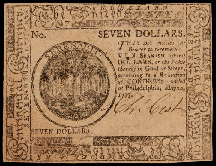 Continental Congress. May 20, 1777. Seven Dollars. Firs
