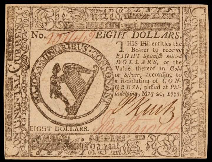 Continental Congress. May 20, 1777. Eight Dollars. Firs