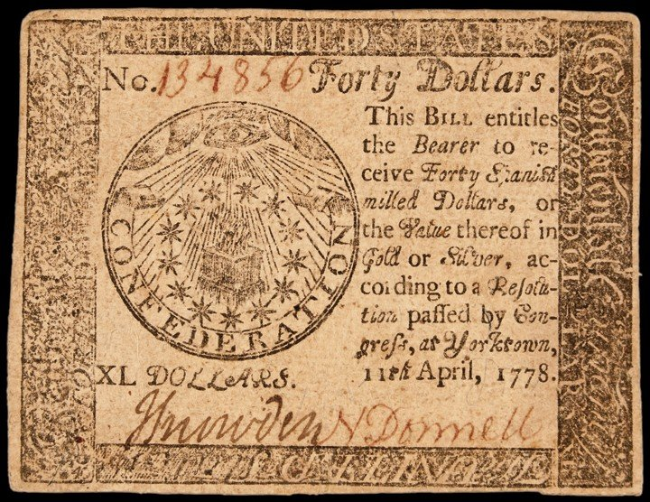 "Continental Congress. April 11, 1778. Forty Dollars. ""Y"