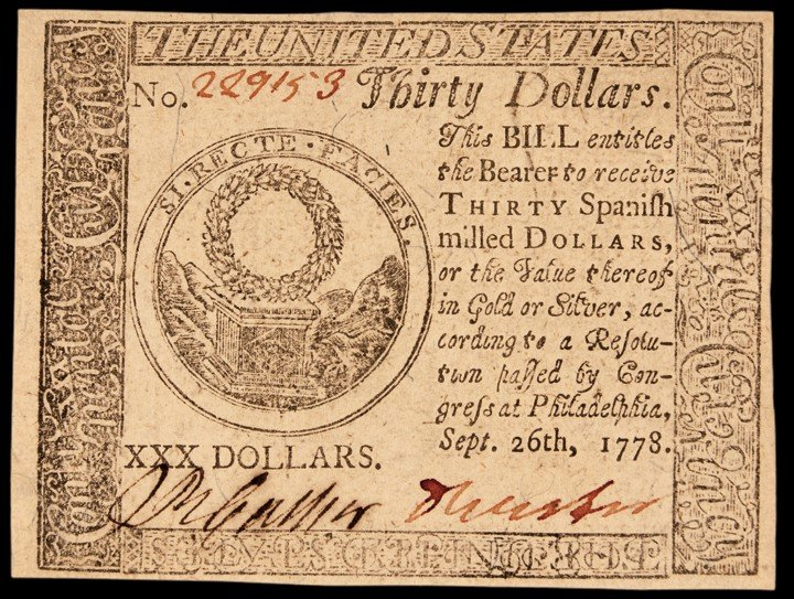 Continental Congress. September 26, 1778. Thirty Dollar