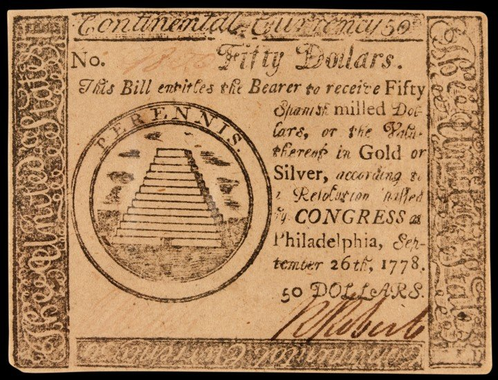 Continental Congress. September 26, 1778. Fifty Dollars