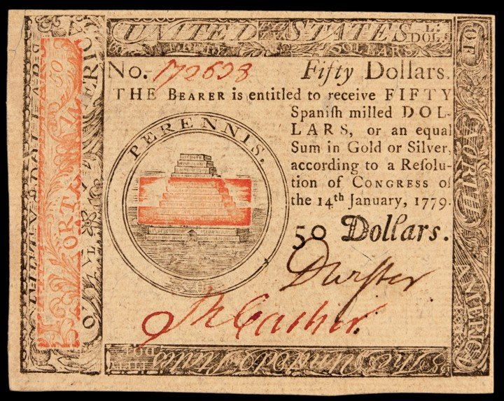 Continental Congress. January 14, 1779. Fifty Dollars.