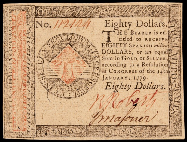 Continental Congress. January 14, 1779. Eighty Dollars.