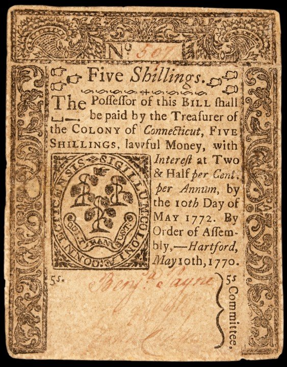 Colony of Connecticut. May 10, 1770. Five Shillings. Li