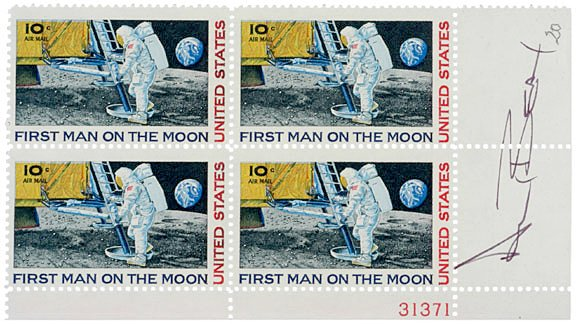 3001: ASTRONAUTS Postage Stamps Signed, ALAN BEAN