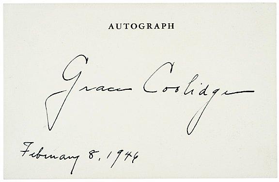 3004: Courtesy Autograph GRACE COOLIDGE 1946