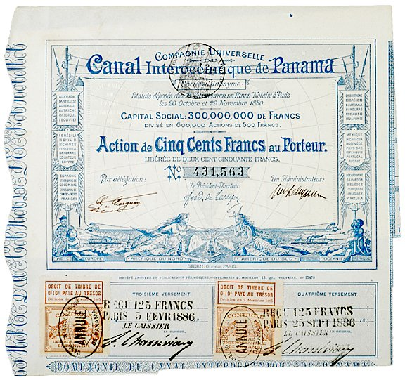 3007: 1880 PANAMA CANAL Bond Certificate 500 Francs