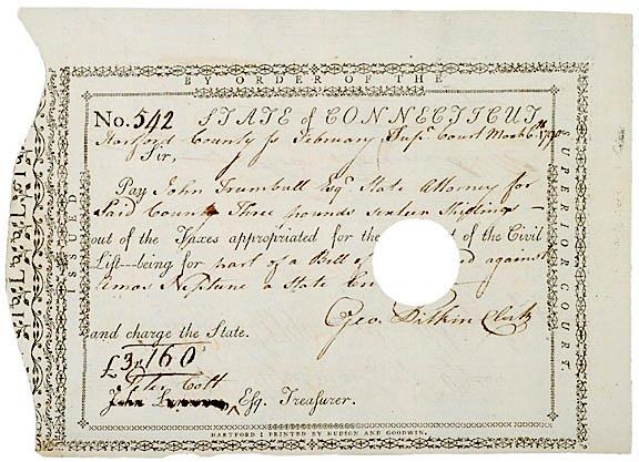 3008: JOHN TRUMBULL, Signed Document, 1790