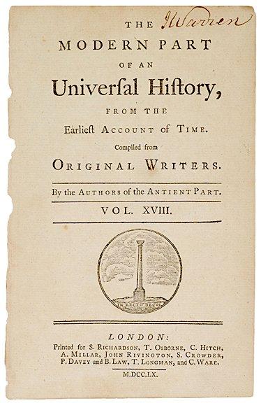 3010: JAMES WARREN, Title Page Signed, c. 1760