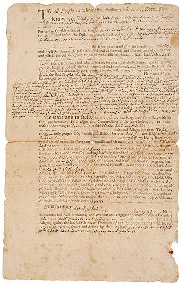 3011: c. 1730, Deed, Yarmouth, Massachusetts