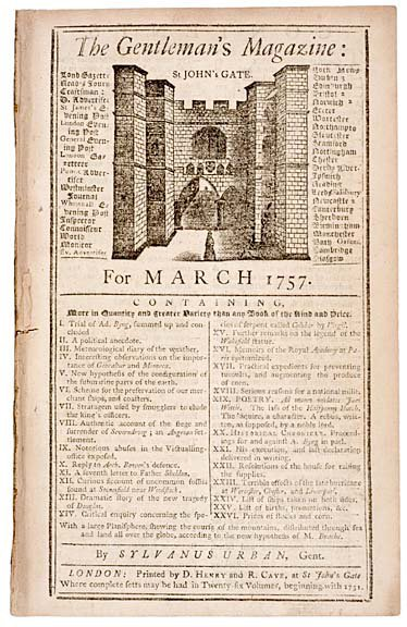 3014: 1757, The Gentlemans Magazine, London