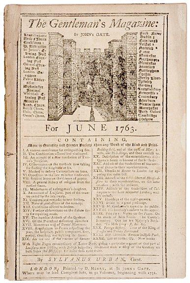 3016: 1763, The Gentlemans Magazine, London